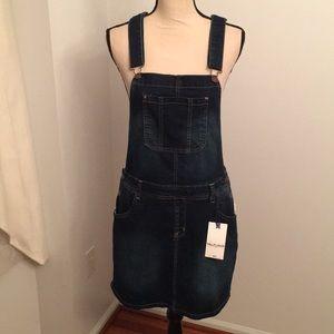 NWT Jean skirt bib overalls